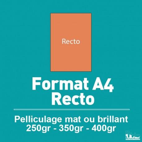 Plaquette A4 Recto de 250 à 400 gr option pelliculage