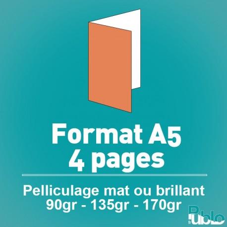 Flyers A5 4 pages de 90 à 170 gr option pelliculage