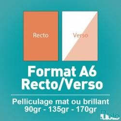 Flyers A6 Recto/Verso de 90 à 170 gr option pelliculage