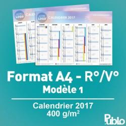 Calendrier A4 2017 400g/m² inscriptible Recto/Verso