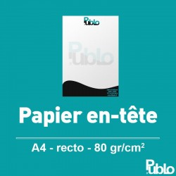 Papier en-tête A4 Mise en page, impression en option
