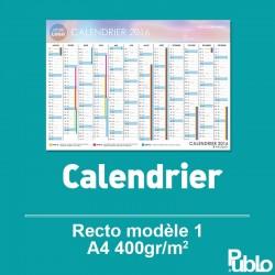 Calendrier A4 2017 400g/m² inscriptible Recto