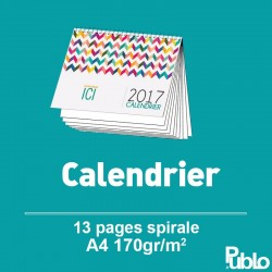 Calendrier 2017 Spirale A4 13 pages inscriptibles
