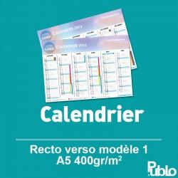 Calendrier A5 2017 inscriptible Recto Verso