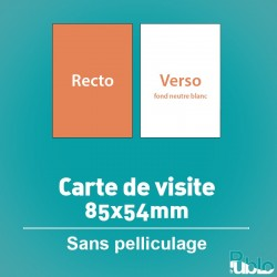Carte de visite, 1 et 2 pages, option pelliculage