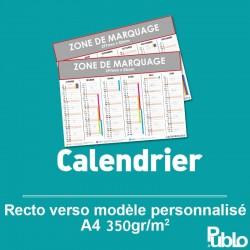 Calendrier A4 2017 350g/m² inscriptible Recto/Verso
